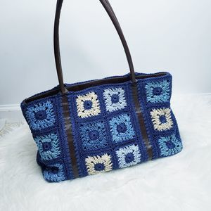The Sak blue crochet granny square shoulder bag